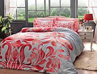 Двуспальное евро постельное белье TAC Fabrice Red Сатин-Delux