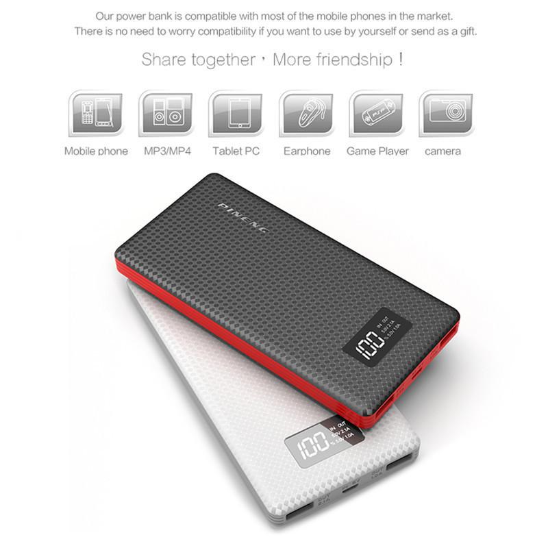 Pineng power bank PN-963 10000мAh Емкость реальная! Оригинал с LCD дисплеем. Черный