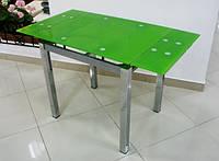 Стол стеклянный раскладной обеденный ТВ17 салатовый, 110/170*75*75 см