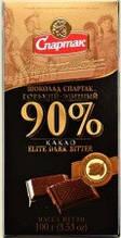 Черный  шоколад Спартак горький Элитный 90 % , 90 гр