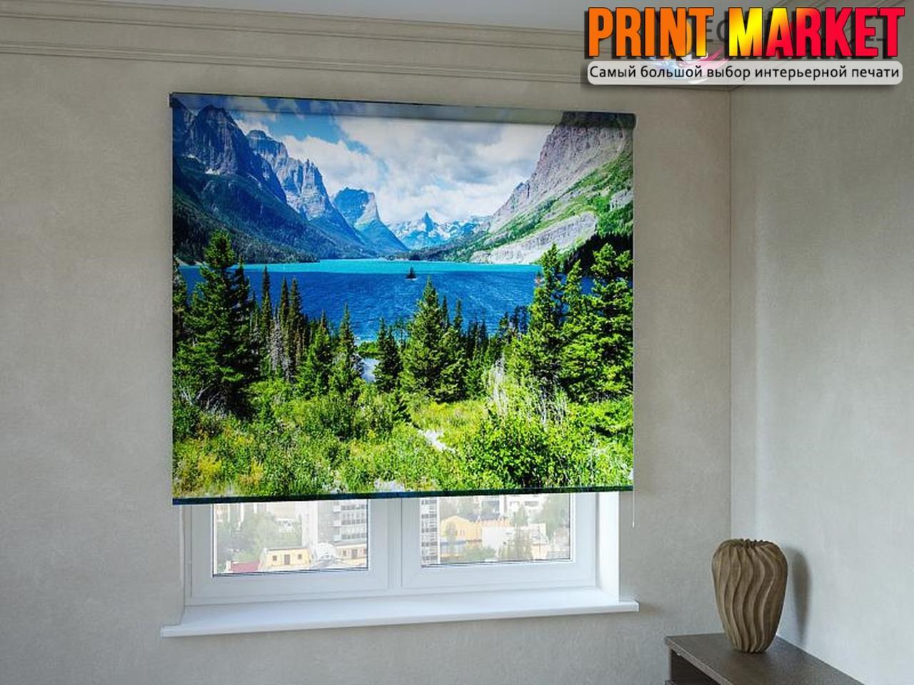 Рулонные шторы с фотопечатью озеро в горах