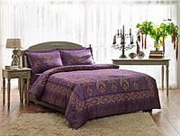 Двуспальное евро постельное белье TAC Grota Purple Сатин-Delux