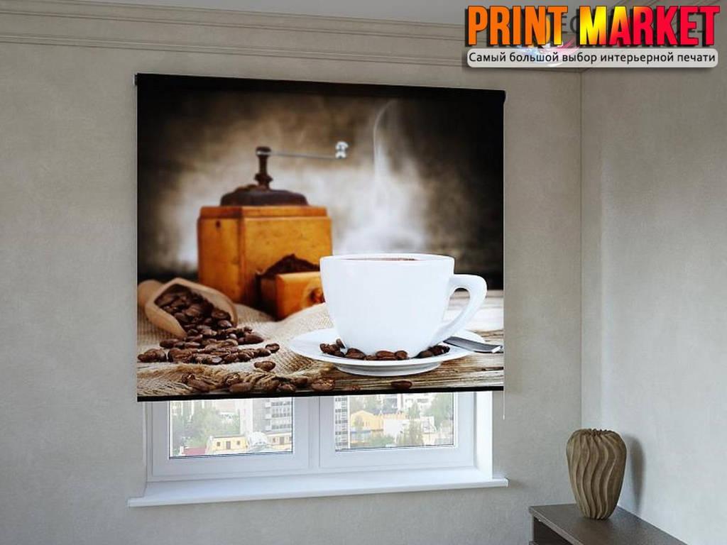 Рулонные шторы с фотопечатью для кухни кофе