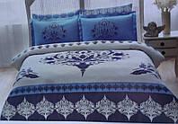 Двуспальное евро постельное белье TAC Venna Blue Сатин-Delux