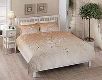 Двуспальное евро постельное белье TAC Senfoni Brown Сатин-Delux