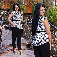 Женские стильный костюм блуза+брюки с поясом большого размера. Ткань: шпатель. Размер: 50,52,54,56.