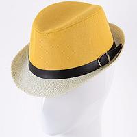 Двухцветная детская шляпа цвет желтый из коттона