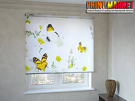 Рулонные шторы с фотопечатью бабочки желтые