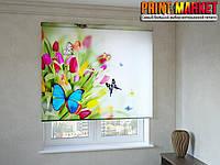 Рулонные шторы с фотопечатью бабочки на тюльпанах