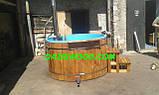Офуро японская баня фурако с чашей из полипропилена и обшивкой из дуба или термодерево. , фото 4
