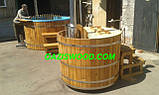 Офуро японская баня фурако с чашей из полипропилена и обшивкой из дуба или термодерево. , фото 7