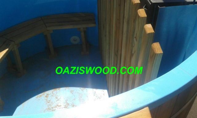 Офуро, японская баня, фурако из полипропилена обшитая термодеревом.