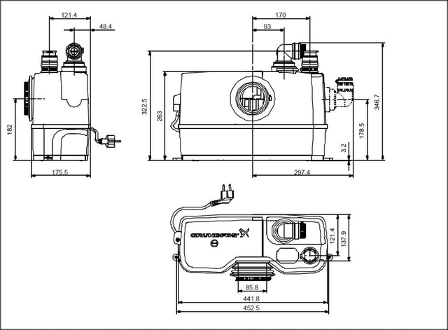 Канализационная установка VOLKS pumpe WC3 (сололифт) размеры