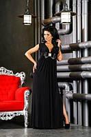 Длинное платье в пол с завышенной талией и расклешенным низом с разрезом