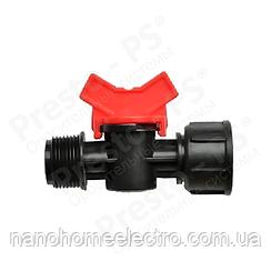Кран шаровый Presto-PS с наружной резьбой 1/2 и внутренней резьбой 3/4 (MF-011234)