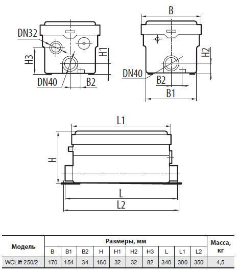 Канализационная установка Sprut WCLIFT 250/2 размеры