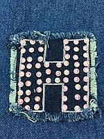 Нашивка буква H джинс
