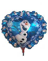 Воздушные шары фольга снеговик Олаф на палочке