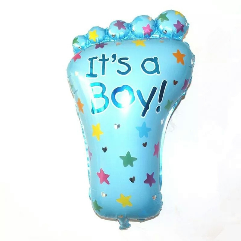 Фольгований міні кулька ніжка малюка блакитна 45 х 24 см