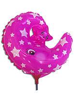 Воздушные шары фольга Месяц со звездочкой на палочке