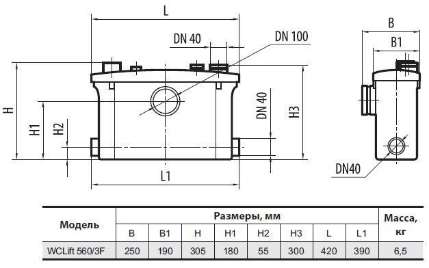Канализационная установка Sprut WCLIFT 560/3F размеры