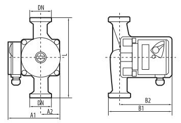 Циркуляционный насос для систем отопления Sprut GPD 25–4S–180 размеры