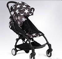 Детская коляска YOYA 175 Star, 3 ярусный капор, легкая, компактная Йойа черная с белыми звездами