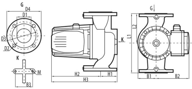 Циркуляционный насос Sprut GPD 13–40–1000 габаритные размеры