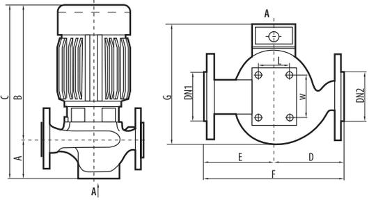 Циркуляционный насос Sprut 3VP–DN65H габаритные размеры