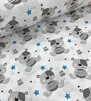 Мишки Тэдди с голубыми звездами на белом