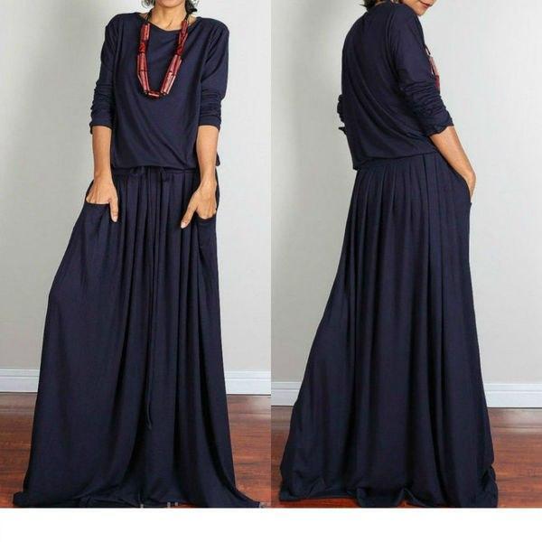 fef4af61230 Повседневное свободное длинное платье с карманами   продажа