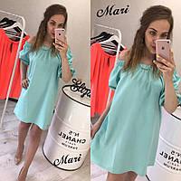 Голубое платье свободного кроя