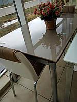 Стол стеклянный раскладной обеденный ТВ020 кофе с молоком, 120/200*80*75 см