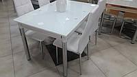 Стол стеклянный раскладной обеденный ТВ020 ультрабелый, 120/200*80*75 см