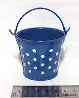 Ведерко декоративное 5,5 см., горох синее