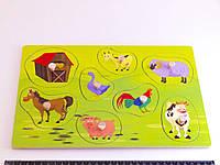 Деревянная игрушка Досточка вкладки с животными Ферма, фото 1