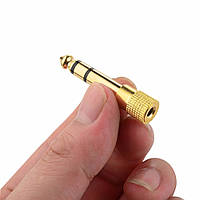 Стерео адаптер штекер 6.3 мм aux (6.35mm male папа) - 3.5 мм (female мама) mini jack золотое напыление adapter