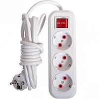 Электрический удлинитель с выключателем на 3шт/3м