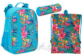 "Комплект школьный. Рюкзак ""Tropical flower"" K17-703M-2, Пенал и Сумка, ТМ  KITE"