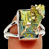 """Разноцветное колечко с золотисто-зеленым висмутом """"Зеленый пик"""",  размер 19.3, фото 1"""