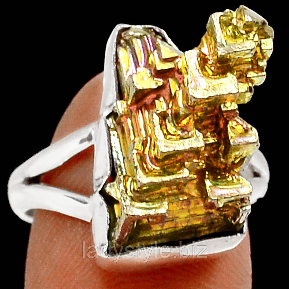 """Разноцветное колечко с золотисто-розовым висмутом """"Золотой"""",  размер 17.8"""