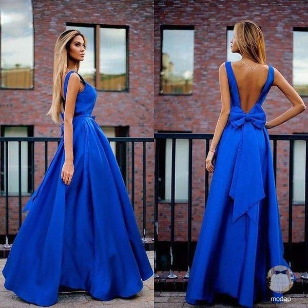 467ee82d342 Очаровательное длинное платье в пол с открытой спиной и бантом ...