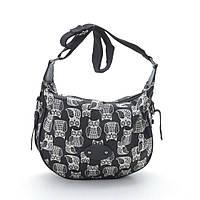 Женская сумочка через плечо 1603 №2 black (ч/б совы)