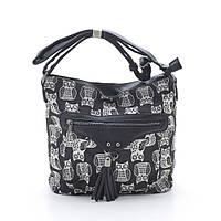 Женская сумочка через плечо 1633 №2 black (совы)