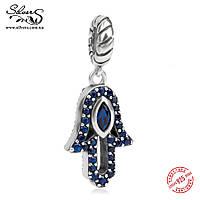 """Серебряная подвеска-шарм Пандора (Pandora) """"Хамса амулет синий"""" для браслета"""