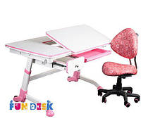 Растущая парта-трансформер FunDesk Amare Pink с выдвижным ящиком + Детское кресло SST5 Pink