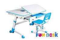Парта для школьника FunDesk Amare Blue с выдвижным ящиком + Детский стул SST3 Blue+лампа FunDesk L2