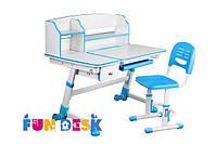 Регулируемая парта FunDesk Amare II Blue с выдвижным ящиком + Детский стул SST3 Blue