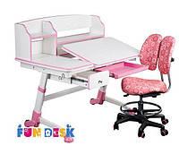 Парта растущая для девочки FunDesk Amare II Pink с выдвижным ящиком + Детский стул SST6 Pink