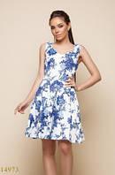 Женское платье 14973 белый принт цветы